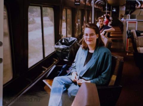 Kristina Svensson i utkiksvagnen i California Zephyr