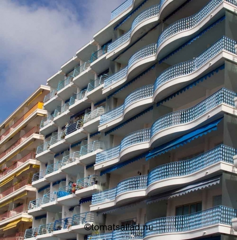 blå balkonger