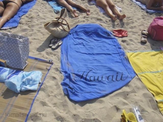 handduk på Plage du Ponteil sommaren 2011