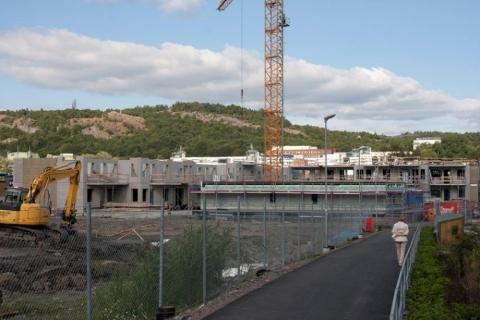 Vy över Skanskas bygge 14 augusti 2012