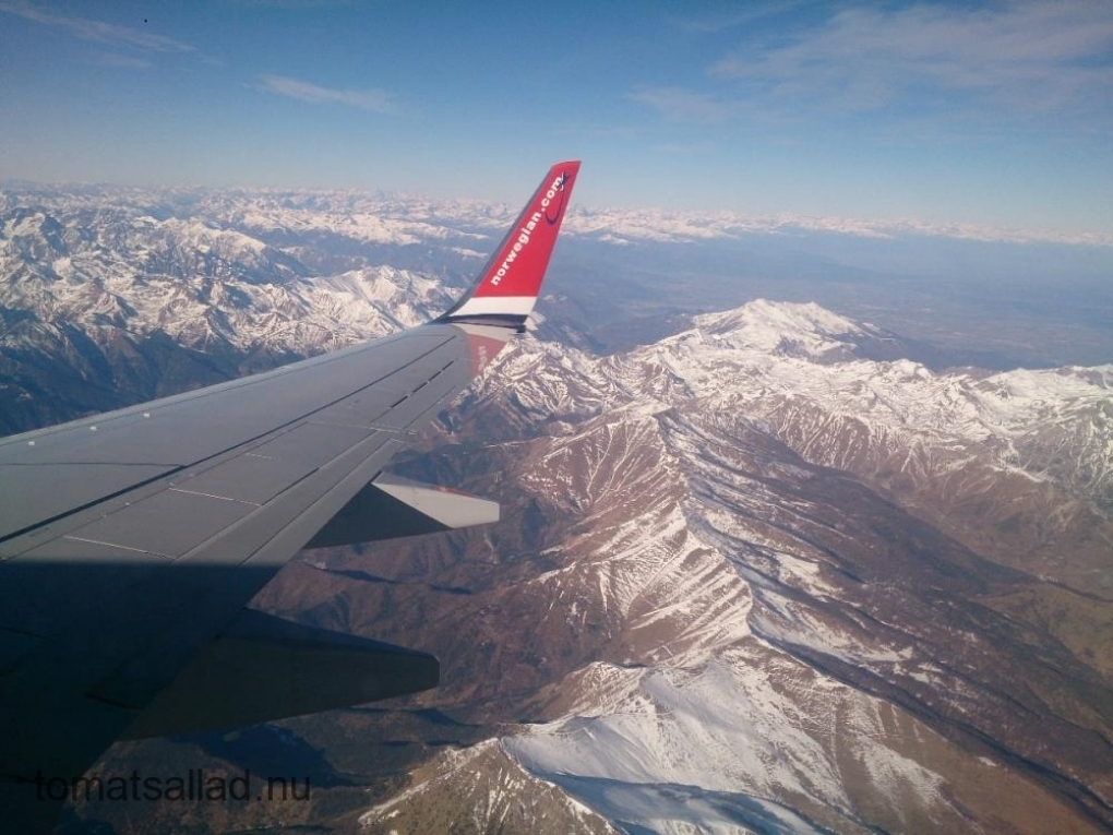 Alperna sett ur ett Norwegian-plan.