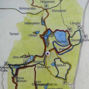 Karta över vandringsleder Sandsjöbacka