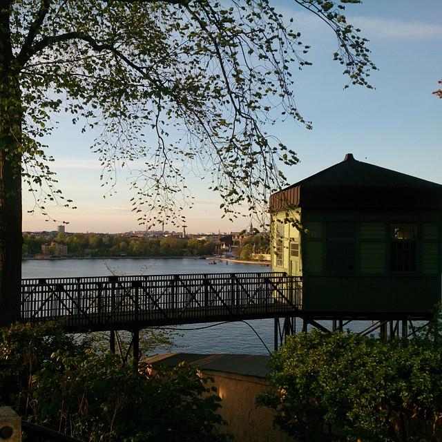 Den skira försommargrönskan,  kvällssolen och utsikten - man kan ju lätt bli kär i Stockholm sådana hör kvällar. Fotat på väg hem från Författarförbundets årsmöte. Roligare i år än förra året, känner ju fler.