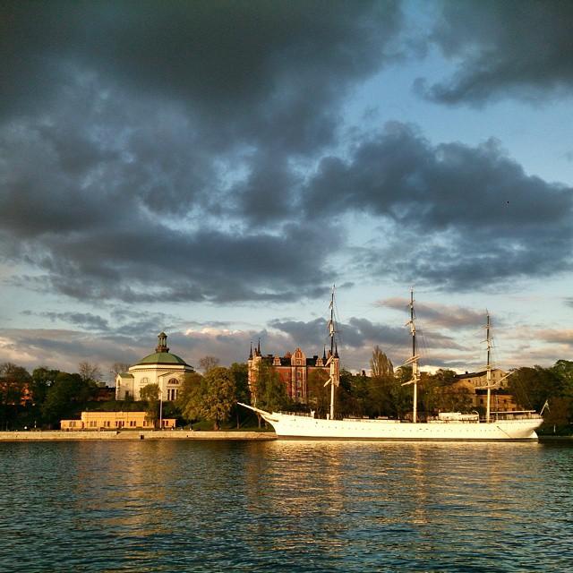 Tacksam för kollegan som drog in mig till stan igår. Trevligt samtal, gott fika och så en vacker promenad på det. Vi blev lite blöta vid Kungsträdgården men då var vi på hemväg. #Stockholm är oerhört vackert i #försommarskrud.